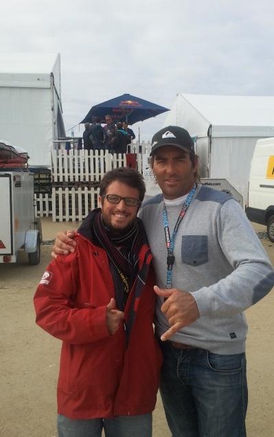 Avec Antoine Albeau, star du windsurf, lors de l'épreuve de coupe du monde pwa windsurf de La Torche, en 2014
