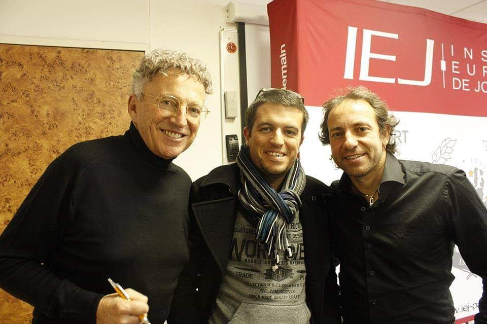 Avec Nelson Monfort et Philippe Candeloro, à l'IEJ Paris