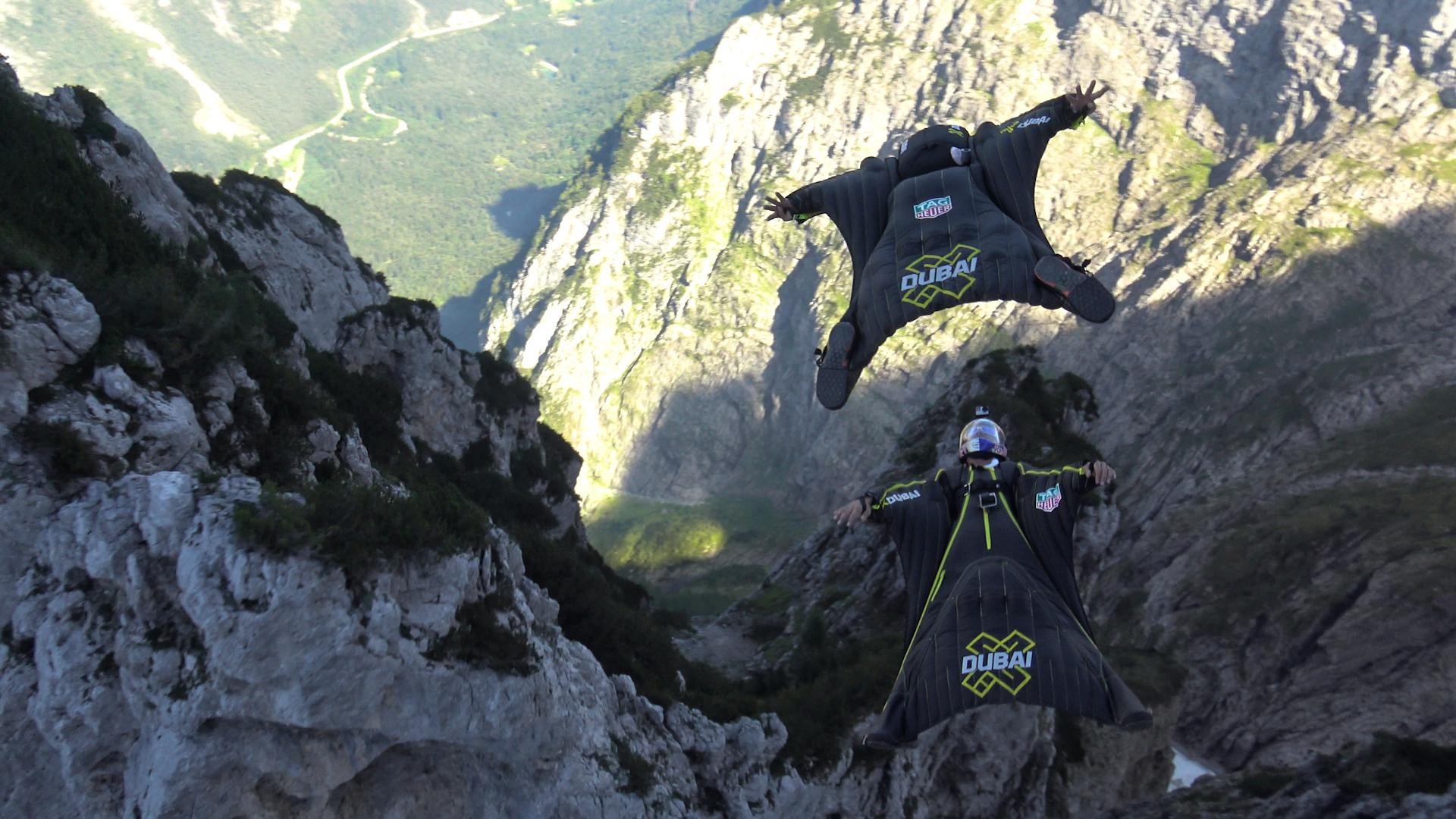 Les Soul Flyers Fred Fugen et Vincent Reffet,, wingsuit