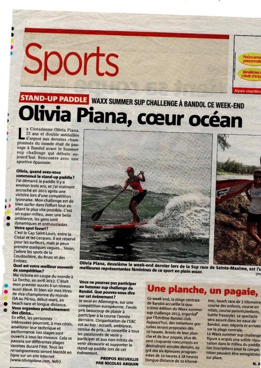 Article écrit pour Var-Matin, interview avec Olivia Piana