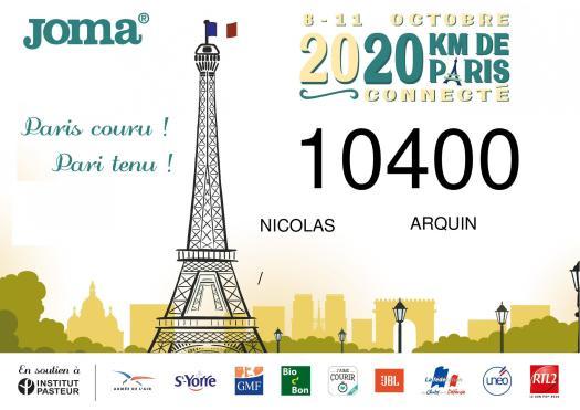 Dossard 20 km de Paris connecté