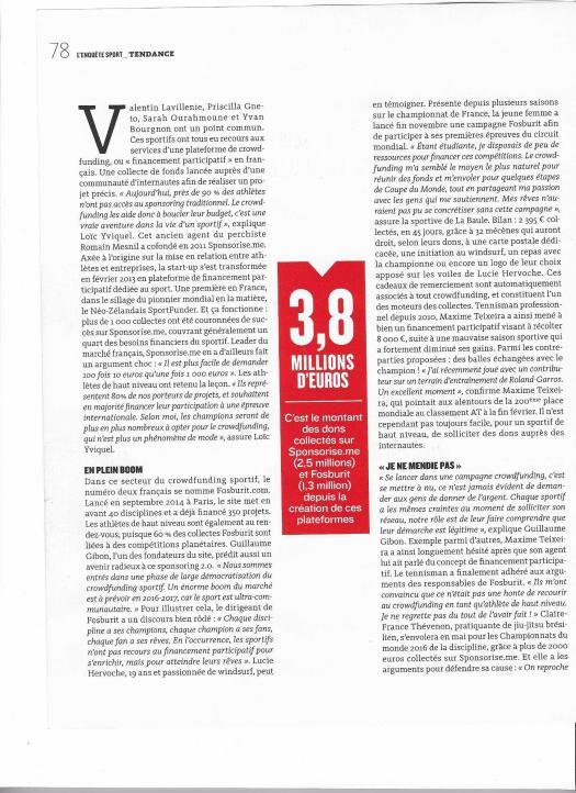 Page 1 Article Mécénat d'Athlètes - Crowdfunding sportif