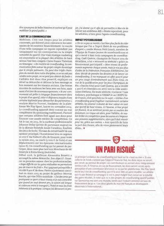 Page 4 Article Mécénat d'Athlètes - Crowdfunding sportif