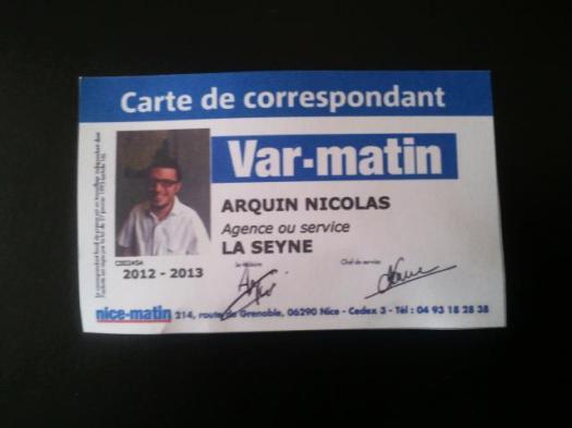 Carte Correspondant Var-Matin